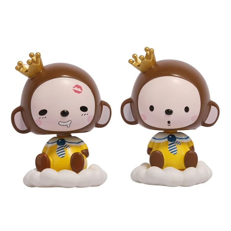 皇冠猴汽车卡通摇头公仔可爱创意车载摇头娃娃车内饰品玩偶摆件对装