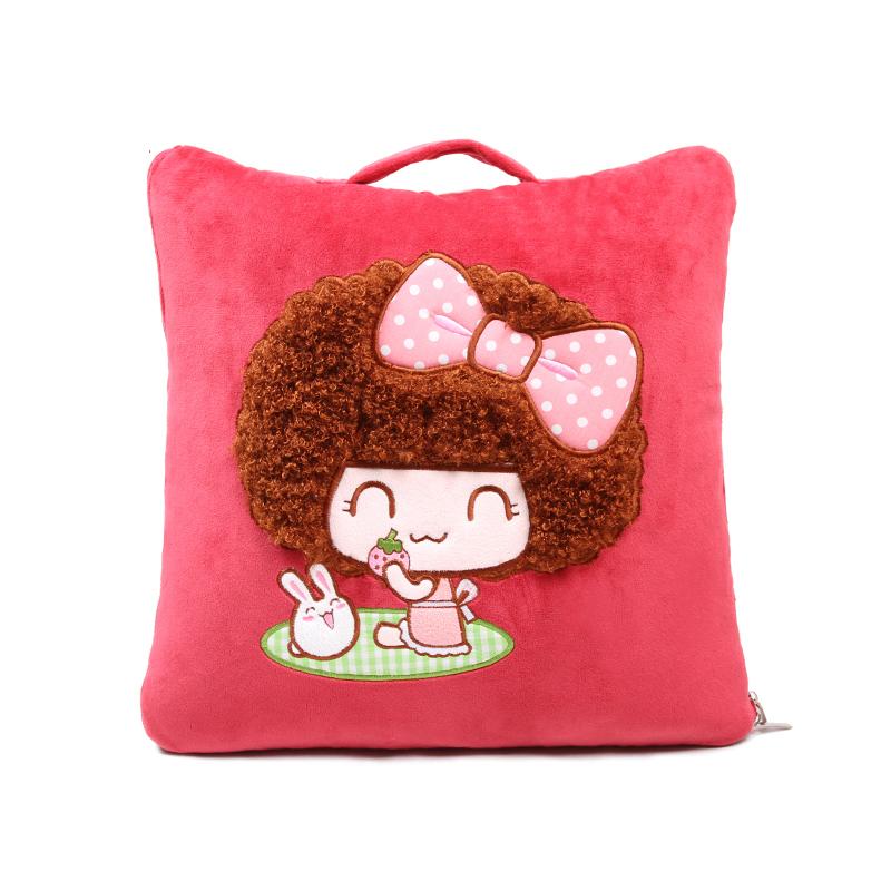 正版mocmoc摩丝娃娃 汽车抱枕被子两用靠垫 卡通可爱车用空调被靠枕