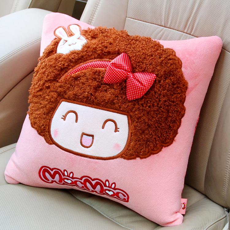 正版mocmoc摩丝娃娃 方形汽车抱枕 创意车用靠垫 可爱