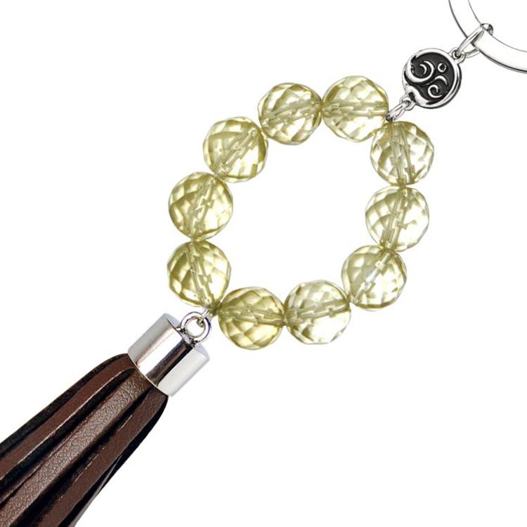 千尚-天然水晶汽车钥匙扣/男士女式/韩国创意可爱钥匙链--如意环(黄)